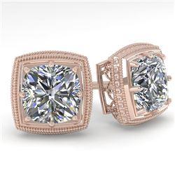 1.0 CTW VS/SI Cushion Cut Diamond Stud Solitaire Earrings Deco 18K Rose Gold - REF-187T5M - 35963
