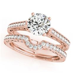 0.67 CTW Certified VS/SI Diamond Solitaire 2Pc Wedding Set Antique 14K Rose Gold - REF-107X3T - 3151