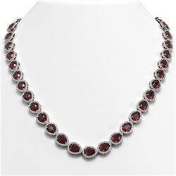 36.93 CTW Garnet & Diamond Halo Necklace 10K White Gold - REF-582H8A - 41087