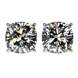 2.50 CTW Certified VS/SI Quality Cushion Cut Diamond Stud Earrings 10K White Gold - REF-840A2X - 331