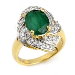 3.29 CTW Emerald & Diamond Ring 14K Yellow Gold - REF-70A9X - 13116