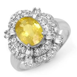 3.05 CTW Yellow Sapphire & Diamond Ring 18K White Gold - REF-100Y2K - 14343