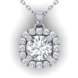 1.01 CTW Certified VS/SI Diamond Stud Halo Necklace 14K White Gold - REF-178X2T - 30423