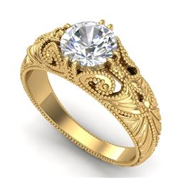 1 CTW VS/SI Diamond Solitaire Art Deco Ring 18K Yellow Gold - REF-315W2F - 36910