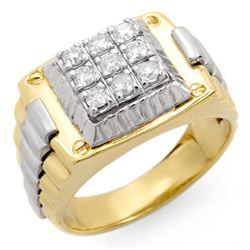 0.50 CTW Certified VS/SI Diamond Men's Ring 18K 2-Tone Gold - REF-154A8X - 14420