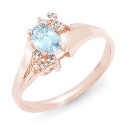 0.52 CTW Blue Topaz & Diamond Ring 10K Rose Gold - REF-14H5A - 12397