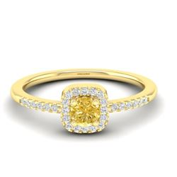 0.45 CTW Citrine & Micro Pave VS/SI Diamond Ring Designer Halo 18K Yellow Gold - REF-27W8F - 21373