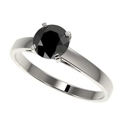 1 CTW Fancy Black VS Diamond Solitaire Engagement Ring 10K White Gold - REF-28Y3K - 32984