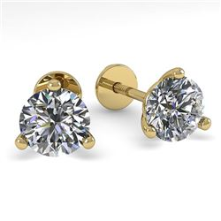 0.52 CTW Certified VS/SI Diamond Stud Earrings 18K Yellow Gold - REF-50N2Y - 32197
