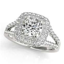 1.35 CTW Certified VS/SI Diamond Solitaire Halo Ring 18K White Gold - REF-172A2X - 26461
