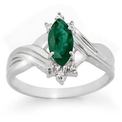 0.57 CTW Emerald & Diamond Ring 18K White Gold - REF-27A6X - 13603