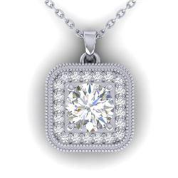 1.32 CTW Certified VS/SI Diamond Art Deco Micro Halo Necklace 14K White Gold - REF-193W3F - 30501