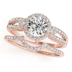 1.11 CTW Certified VS/SI Diamond 2Pc Wedding Set Solitaire Halo 14K Rose Gold - REF-196A2X - 31179