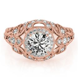 1.25 CTW Certified VS/SI Diamond Solitaire Antique Ring 18K Rose Gold - REF-223A6X - 27331