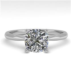 1 CTW Cushion Cut VS/SI Diamond Engagement Designer Ring 18K White Gold - REF-282N2Y - 32424