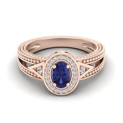 0.58 CTW Tanzanite & VS/SI Diamond Designer Solitaire Halo Ring 10K Rose Gold - REF-27A6X - 20843