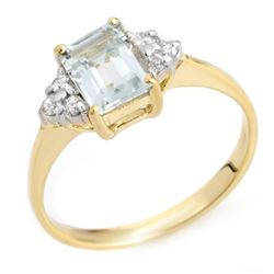 1.22 CTW Aquamarine & Diamond Ring 10K Yellow Gold - REF-18F8N - 10039