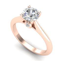 1.08 CTW VS/SI Diamond Solitaire Art Deco Ring 18K Rose Gold - REF-361T8M - 37287