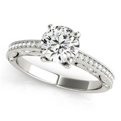 1 CTW Certified VS/SI Diamond Solitaire Antique Ring 18K White Gold - REF-203Y5K - 27375