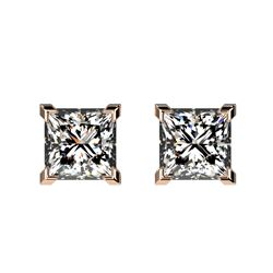 1 CTW Certified VS/SI Quality Princess Diamond Stud Earrings 10K Rose Gold - REF-147T2M - 33064