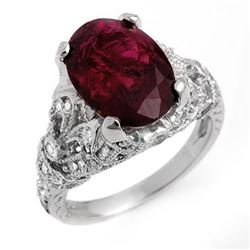 5.60 CTW Rubellite & Diamond Ring 14K White Gold - REF-202F8N - 11137