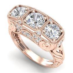 2.51 CTW VS/SI Diamond Solitaire Art Deco 3 Stone Ring 18K Rose Gold - REF-436A4X - 36990