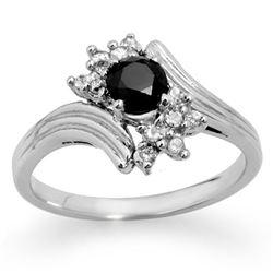 0.75 CTW VS Certified Black & White Diamond Ring 10K White Gold - REF-36N2Y - 14023