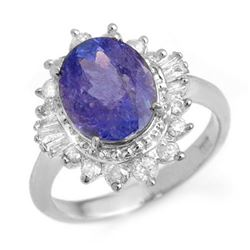 3.75 CTW Tanzanite & Diamond Ring 18K White Gold - REF-127H3A - 13869