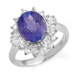 3.75 CTW Tanzanite & Diamond Ring 18K White Gold - REF-127H3A - 13869