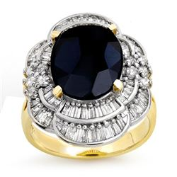 7.85 CTW Blue Sapphire & Diamond Ring 14K Yellow Gold - REF-135T5M - 13076