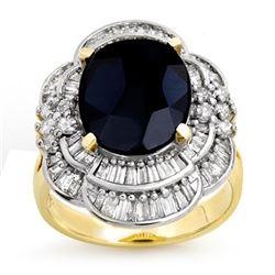 7.85 CTW Blue Sapphire & Diamond Ring 14K Yellow Gold - REF-135T5M - 13076