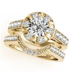 2.35 CTW Certified VS/SI Diamond 2Pc Wedding Set Solitaire Halo 14K Yellow Gold - REF-488M8H - 31294