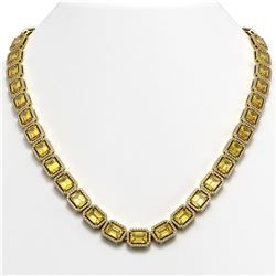 52.94 CTW Fancy Citrine & Diamond Halo Necklace 10K Yellow Gold - REF-679Y3K - 41374