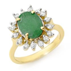 3.10 CTW Emerald & Diamond Ring 10K Yellow Gold - REF-70K2W - 12684