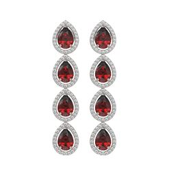 8.2 CTW Garnet & Diamond Halo Earrings 10K White Gold - REF-135K3W - 41183
