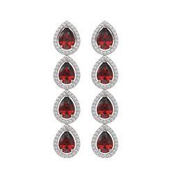 8.2 CTW Garnet & Diamond Halo Earrings 10K White Gold - REF-135K3W - 41183