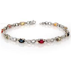3.51 CTW Multi-Sapphire & Diamond Bracelet 18K White Gold - REF-65T5M - 11205