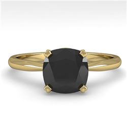 3.0 CTW Cushion Black Diamond Engagement Designer Ring Size 7 18K Yellow Gold - REF-107F5N - 32458