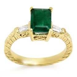 2.45 CTW Emerald & Diamond Ring 10K Yellow Gold - REF-34F2N - 11008