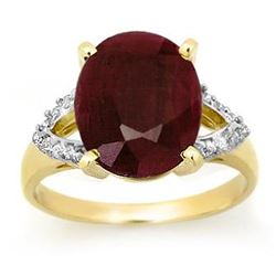 6.50 CTW Ruby & Diamond Ring 10K Yellow Gold - REF-67M6H - 12694