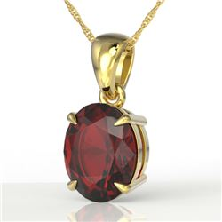 3.50 CTW Garnet Designer Inspired Solitaire Necklace 18K Yellow Gold - REF-29T3M - 21864