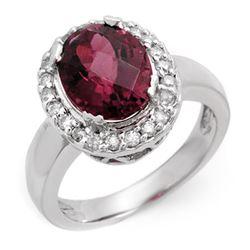 3.40 CTW Pink Tourmaline & Diamond Ring 10K White Gold - REF-89N8Y - 10616