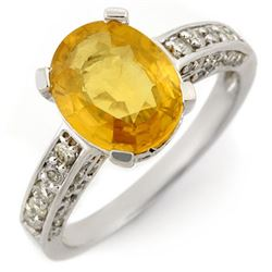 3.60 CTW Yellow Sapphire & Diamond Ring 14K White Gold - REF-72K4W - 11033