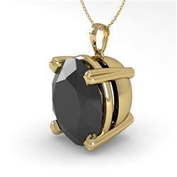 9.0 CTW Oval Black Diamond Designer Necklace 18K Yellow Gold - REF-254A5X - 32374