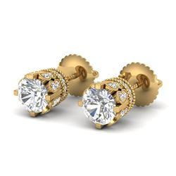 3 CTW VS/SI Diamond Solitaire Art Deco Stud Earrings 18K Yellow Gold - REF-619M6H - 36838