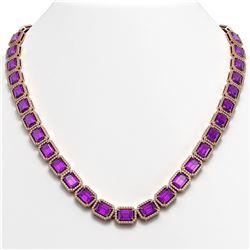 50.99 CTW Amethyst & Diamond Halo Necklace 10K Rose Gold - REF-677Y6K - 41370