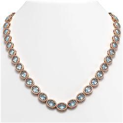 55.41 CTW Sky Topaz & Diamond Halo Necklace 10K Rose Gold - REF-636H4A - 40584