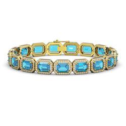 23.66 CTW Swiss Topaz & Diamond Halo Bracelet 10K Yellow Gold - REF-311N3Y - 41413