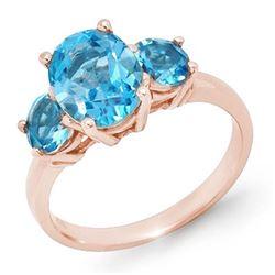 3.25 CTW Blue Topaz Ring 10K Rose Gold - REF-22N2Y - 13340