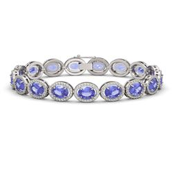 21.35 CTW Tanzanite & Diamond Halo Bracelet 10K White Gold - REF-353W6F - 40610